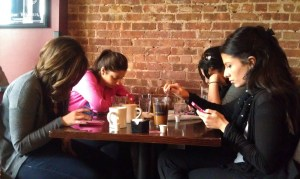txting at teh table